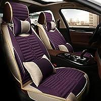カーシートカバー、フロントとリア5ユニバーサル4シーズンパッドシート、エアバッグと互換性のある防水リネン (Color : Purple)