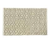 Youchan(ヨウチャン) マット キッチン バス インド 幾何学 綿 エスニック ハンドメイド 手作り 手織り 洗える フロア ラグ ナチュラル 玄関 室内 お風呂 足ふき さらり 爽快 グッズ 小物 台所用品 50×80cm (Bタイプ(茶))