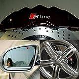 4ピース/ロットsline車のエンブレムステッカートリム用アウディa1 a3 a4 a5 a6 a7 q1 q3 q5はq7 sラインアクセサリー、カースタイリング