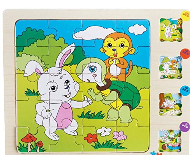 HuaQingPiJu-JP かわいい木の多層パズルアーリーラーニングの数字の形の色の動物のおもちゃ子供のための素晴らしいギフト(うさぎ)