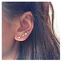 Olbye Star Studs Earrings Gold Ear Crawler Earring for Women and Girls Charm Body Jewelry Earrings