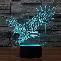イーグルナイトライト 3Dイリュージョンランプ YKL 世界的タッチ7 色が変わる おもちゃ ベッドルーム装飾 誕生日 クリスマスギフト 男の子 女の子 キッズ