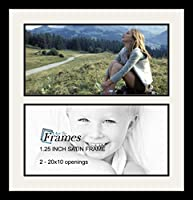 ArtToFrames アルファベットフォトフレーム  6x20インチ 2窓 サテンブラックフレーム 2 - 10x20 ホワイト Double-Multimat-1579-61/89-FRBW26079