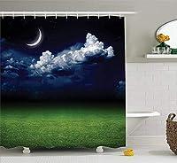 GooEoo 雲と草のグラウンドフィールドの夜景画像シャワーカーテン3Dプリント12フック付き防水ポリエステル生地浴室71インチ
