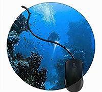 マウスパッド丸型 キーボードパッド デスクマット ゲーム 水中スキューバダイバー 滑り止め 耐久性が良い マウス用パッドオフィス 1B208