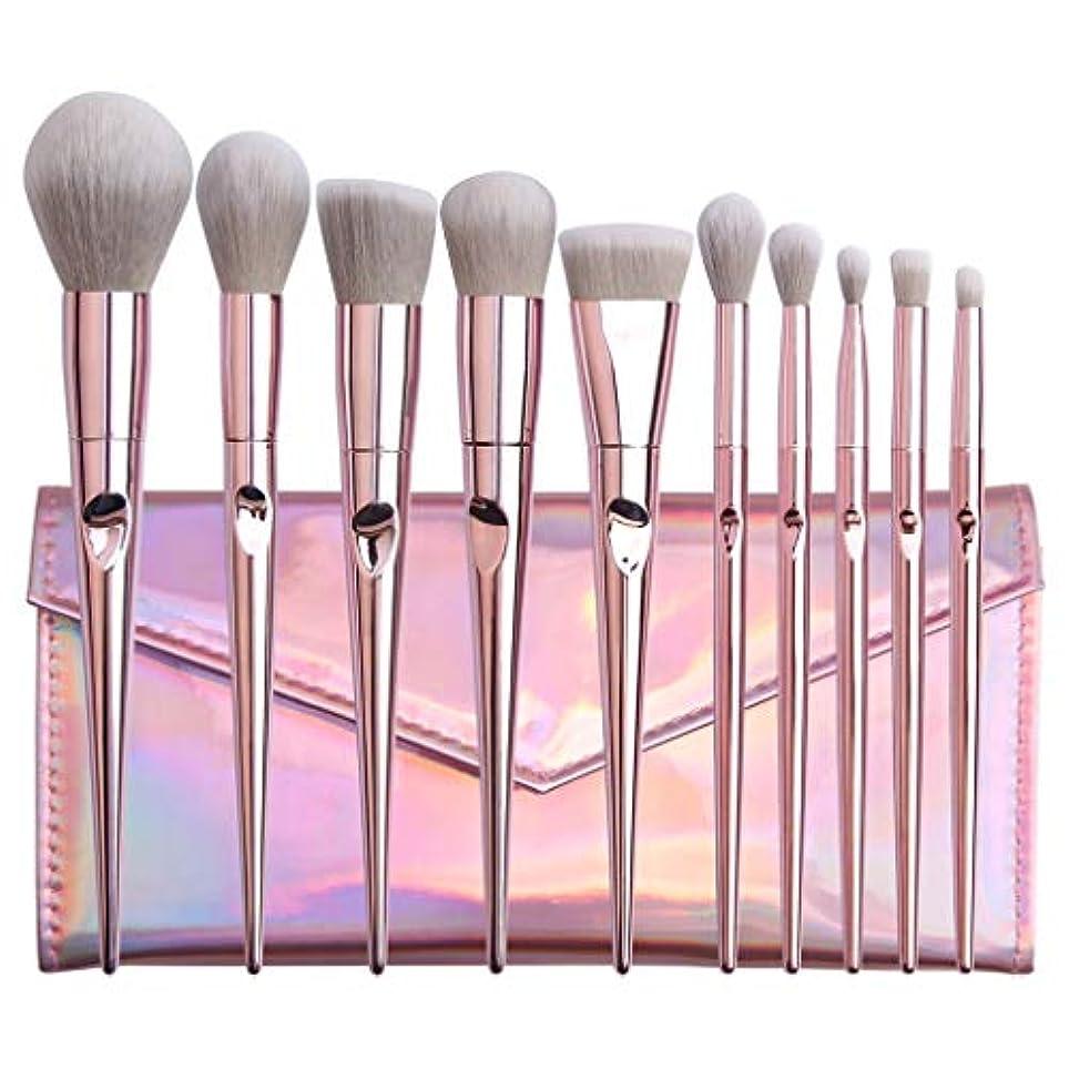 極貧会員グッゲンハイム美術館Farantasy化粧ブラシ10ピースピンクメイクブラシファンデーションハイグロスリップブラシ &Amp; アイ Brushe メイクバッグセット