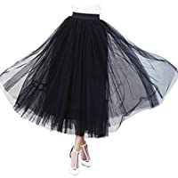 Women's A Line Layered Princess Mesh Tulle Prom Party Long Skirt
