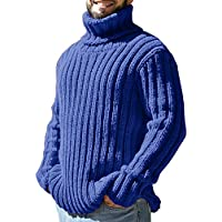 Runcati Mens Sweaters Turtleneck Cable Knitted Pullover Long Sleeve Slim Fit Chunky Casual Fall Winter Warm Cardigans