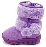 (ダダウン)DADAWEN   ガールズブーツ スノーブーツ  ショートブーツ ベビーブーツ 裏ボア 暖かい 雪天気 保温 柔らかい 軽量 通学 外出 パープル 13cm