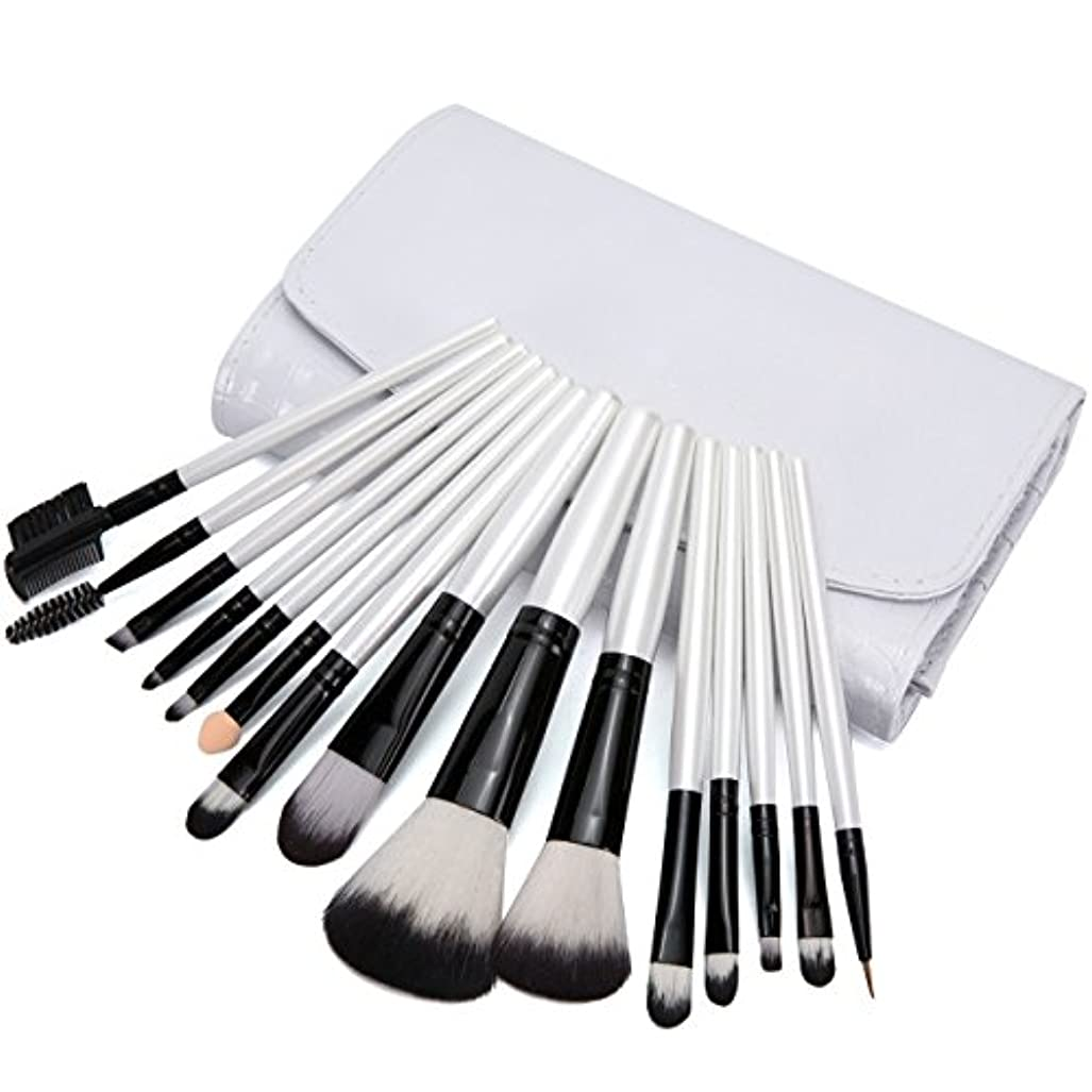 挨拶自己尊重箱Adier-life メイクブラシ 15本セット コスメ ブラシ 高級化粧筆 専用化粧ポーチ付き(15本,ホワイト)