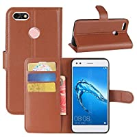 チャーリーの携帯電話ケース 多機能レザー携帯電話ケース&カバー Huawei社はホルダー&カードスロット&財布(ブラック)と7ライチテクスチャ水平フリップレザーケースをお楽しみのために (Color : Brown)