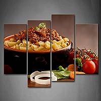 最初の壁アート–肉とパスタプレートand Vegetable壁アート絵画プリントキャンバス食品の絵ホーム現代装飾 12x26inchx2Panel,12x35inchx2Panel 8219874F
