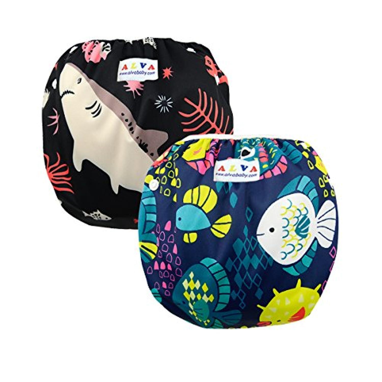 ALVABABY 赤ちゃん 防水 水着 再利用可能 スイム布 水遊び用 おむつ 可愛い スイムパンツ 2枚セット SWD07-09-JP