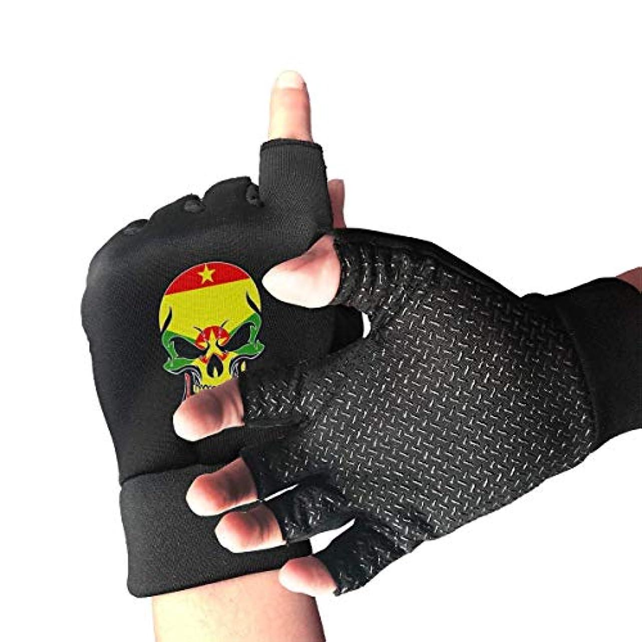 お父さんパス引用Grenada Skull Flag Fingerless/Half Finger Gloves自転車用手袋/サイクリングマウンテン用手袋/滑り止め衝撃吸収通気性メンズ/レディース用手袋