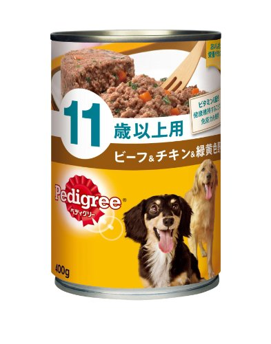 ペディグリー シニア犬 11歳以上用 ビーフ& チキン& 緑黄色野菜 400g×24缶入り  ドッグフード 缶詰