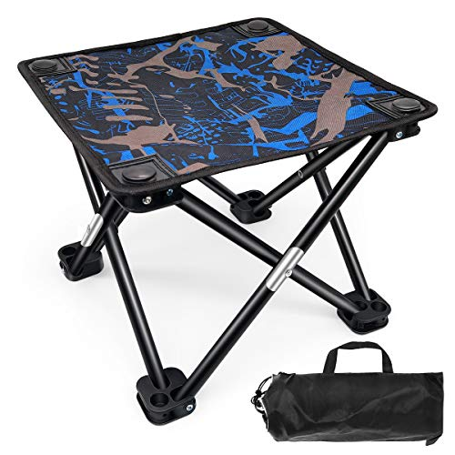 BESONT 折りたたみチェア アウトドア 折りたたみ椅子 ベンチ コンパクトに収納 丈夫 荷重100Kg キャンプ用 収納袋付き (ブルー)