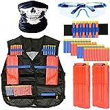 男の子のためのNerf銃のための戦術的なベストキットNストライク、詰め替えダーツ、マスク、2つのクリップ、子供用保護メガネ,1piece
