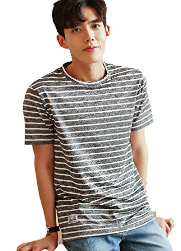 Tシャツ 半袖 クルーネック メンズ ストライプTシャツ