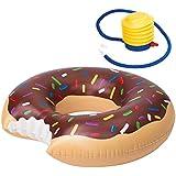 M&W. 楽しめる人気のドーナツ 浮き輪 可愛い うきわ 丸型 フロート プール 海 直径約60cm 子供用 (ポンプ+子供用スイミング耳栓) プレゼント(チョコレート)