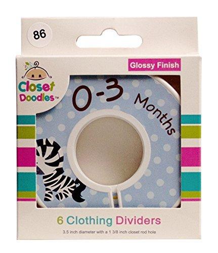 Closet Doodles C86 Safari Animals Boy Baby Clothing Dividers Set of 6 Fits 1.25inch Rod