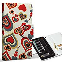 スマコレ ploom TECH プルームテック 専用 レザーケース 手帳型 タバコ ケース カバー 合皮 ケース カバー 収納 プルームケース デザイン 革 ラブリー ハート 赤 レッド 模様 007590