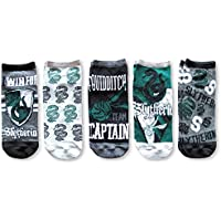 Harry Potter Slytherin Quidditch Juniors/Womens 5 Pack Ankle Socks Size 4-10