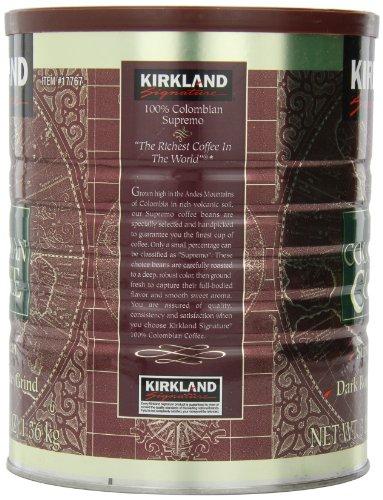 カークランド 100%コロンビアコーヒー粉缶 レギュラーコーヒー 深煎り 細挽き 1.36kg×96缶
