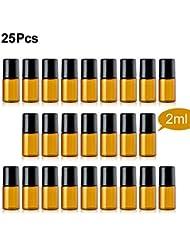 TTBD Roller Ball Bottles, 25 Pcs 2ml Amber Refillable Essential Oil Roller Bottles with Stainless Steel Roller...