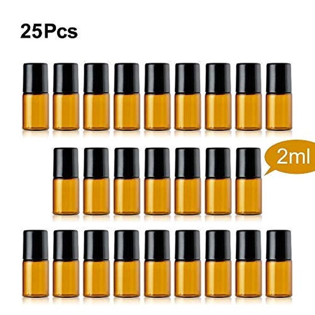 テスピアン振り返る日記TTBD Roller Ball Bottles, 25 Pcs 2ml Amber Refillable Essential Oil Roller Bottles with Stainless Steel Roller...