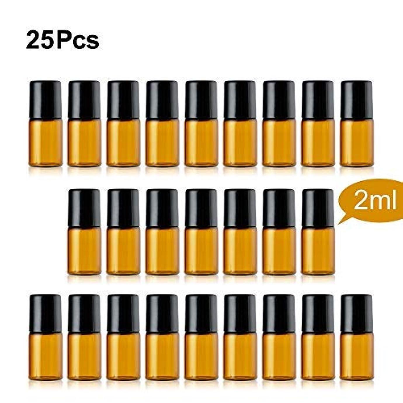 脚本スコア耐久TTBD Roller Ball Bottles, 25 Pcs 2ml Amber Refillable Essential Oil Roller Bottles with Stainless Steel Roller...