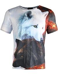 3D メンズ Tシャツ BOBOGOJP カッコいい 3D 黒いオオカミと白い狼柄 デザイン 夏着tシャツ 個性的 ストリート系 面白い 創意設計 スケルトン トップス 半袖 カットソー