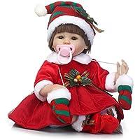 scdoll Rebornベビー人形、リアルな新生児赤ちゃん女の子の人形、17インチ43 cmソフトSiliconeビニール人形withブラウンHair inレッドクリスマスドレス
