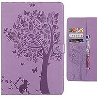 対応 Apple ipad Air/ipad 5 カバー ケース 手帳型, Ougger ラッキーリーフ ウォレットカバーカードスロットプレミアムPUレザーフリップケース磁気バンパーポーチホルスタースタンドビュー機能 (Light Purple)