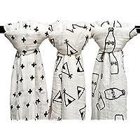 Qav Juh 3枚セット 綿100% 毛布 ダブルガーゼ 出産祝い 赤ちゃん バスタオル ベビー ブランケット 新生児 ガーゼタオル 120cm×120cm (黒白)