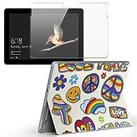 Surface go 専用スキンシール ガラスフィルム セット サーフェス go カバー ケース フィルム ステッカー アクセサリー 保護 LOVE ピース カラフル 011723