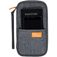 DOKEHOM DKA3202DG Travel Wallet Passport Holder Cover (3 Colors), RFID Document Organizer with Hand Strap (Dark Grey, M)