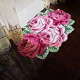 yazi-艶やかなローズ 花の形 ラグマット 豪華 滑り止め付き ピンク ローズ4輪 大判 110cmx70cm