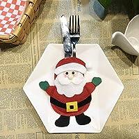 クリスマスストッキングギフトバッグディナーテーブルナイフフォークホルダーカトラリーポケットクリスマスデコレーションパーティー用品