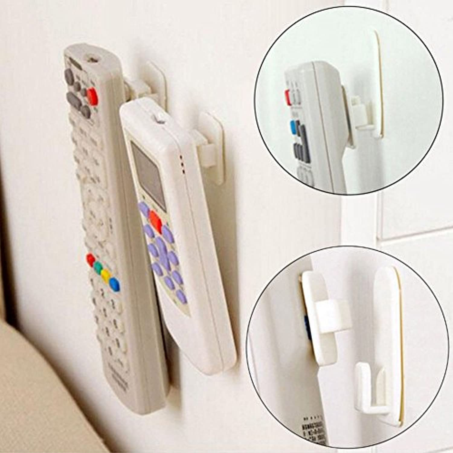 Generic Sticky Hook Set TV Air Conditioner Remote Control Key Practical Wall Storage Plastic Hooks Holder Strong Hanger 1Package(4Pcs)
