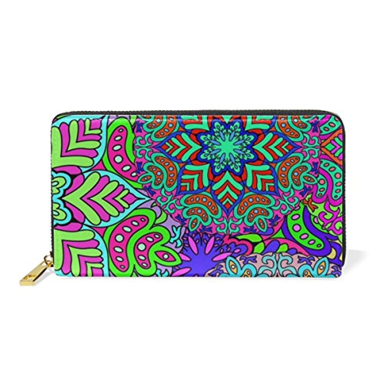 Anmumi 財布 長財布 二つ折り レディーズ puレザー 人気 花柄 カラー レディース メンズ 通勤 通学 おしゃれ 持ちやすい かわいい カード入れ