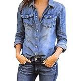 レディース ジャケット Hosam デニムシャツ レディース 長袖 ジャケット 欧米風 おしゃれ シンプルなデザイン 年中通用  (XL, ブルー)