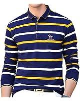 ポロシャツ 長袖 メンズ ゴルフウェア ストライプ コットン スポーツポロシャツ 男性 ゴルフポロシャツ ストレッチ 二重衿 刺繍 軽量 秋 冬 春 イエロー 8805HUANG-M