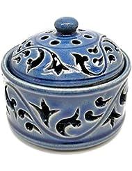 唐草模様の陶器の香炉 小物入れ ブルー インセンスホルダー お香立て アジアン雑貨 並行輸入品(ノーブランド品) [並行輸入品]