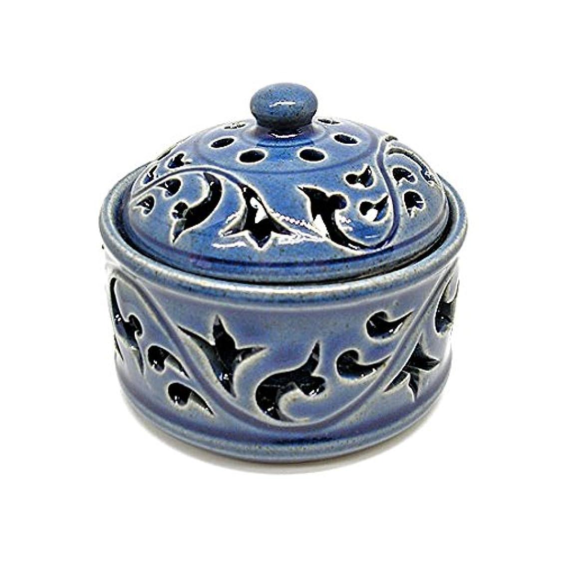 市民約設定なかなか唐草模様の陶器の香炉 小物入れ ブルー インセンスホルダー お香立て アジアン雑貨 並行輸入品(ノーブランド品) [並行輸入品]