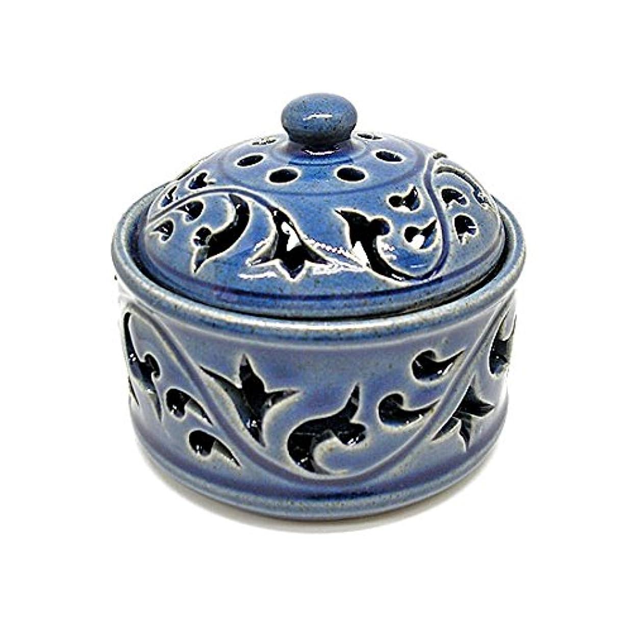 桃傾向がありますペイント唐草模様の陶器の香炉 小物入れ ブルー インセンスホルダー お香立て アジアン雑貨 並行輸入品(ノーブランド品) [並行輸入品]