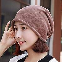 Women's Hat Ms Cap Spring Neutral Cotton Hat Knitted Cap Turban Hat Pregnant Women Ear Cap (Color : Brown, Size : -)