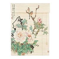 CHAXIA 竹ロールスクリーンすだれ 鳥と花 印刷 上質な竹 カバーライト ブックルーム 背景の壁 切り取る、 3色、 マルチサイズ、 カスタマイズ可能 (色 : A, サイズ さいず : 150X220cm)