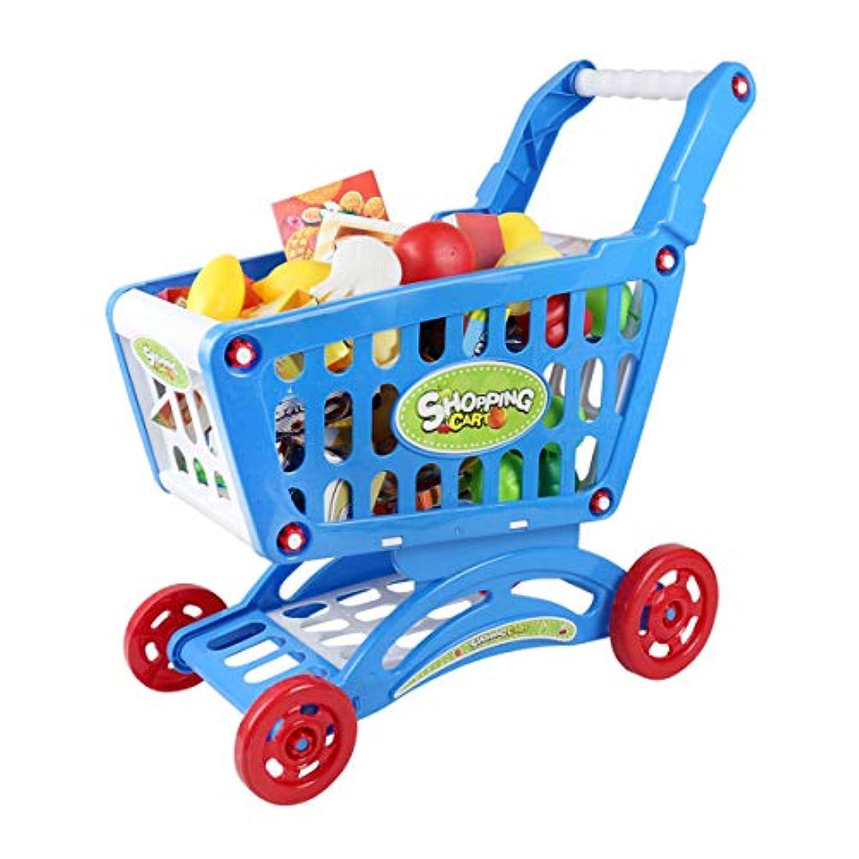 Ourine 子供 ままごと 玩具 おもちゃ 組み立て式 手押し車 買い物気分 ショッピングカート 知育玩具 男女兼用 認知能力 (ショッピングカート*各種の野菜果物) 2色 (青)