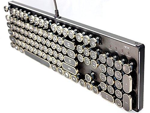 HKW タイプライター風メカニカルキーボード 青軸 104キー USB有線 ...