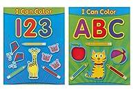 """ペーパークラフトColoring Books For Kids """" ABCと123、I Canカラー""""カラーリングと教育ブック、学習カラーリングブックfor Young赤ちゃん、幼児、注目のカラーに文字と数字、2ピース"""